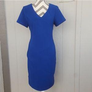 Blue V Neck Short Sleeve Spandex Sheath Midi Dress